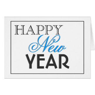 """Azul elegante del negro """"del Año Nuevo"""" Tarjeta De Felicitación"""