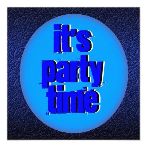 Azul elegante del tiempo del fiesta invitación 13,3 cm x 13,3cm