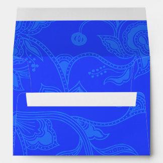 Azul elegante floral del vintage atractivo sobres