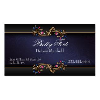 Azul elegante, negro, tarjeta de visita del damasc