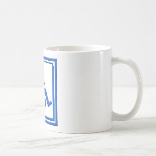 Azul elegante perjudicado del símbolo taza clásica