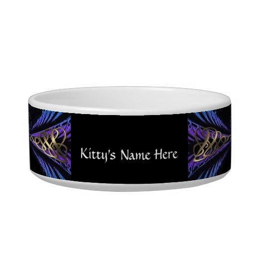 Azul elegante, púrpura y cuenco del gatito del oro tazones para gatos