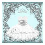 Azul elegante Quinceanera de la plata y del trullo Comunicados Personales