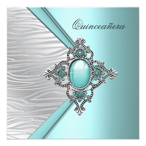 Azul elegante Quinceanera del trullo Invitación Personalizada