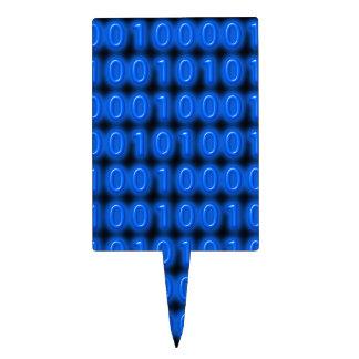 Azul en código binario negro decoración para tarta