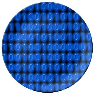 Azul en código binario negro platos de cerámica