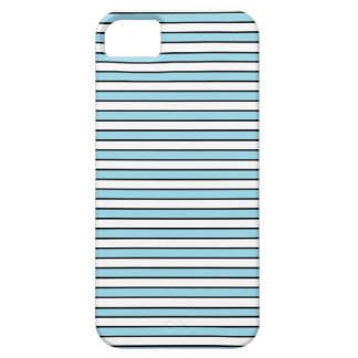 Azul en colores pastel, blanco y rayas negras iPhone 5 carcasa