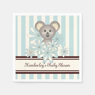 Azul en colores pastel personalizado koala linda servilleta de papel