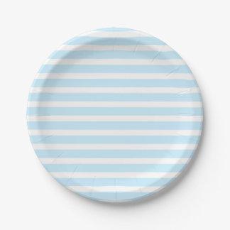 Azul en colores pastel y el blanco raya las placas plato de papel de 7 pulgadas