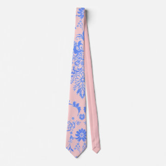 Azul en el damasco rosado corbata personalizada