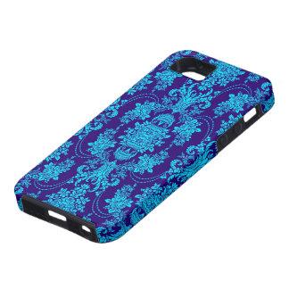 Azul en estampado de flores azul del Barroco del iPhone 5 Fundas