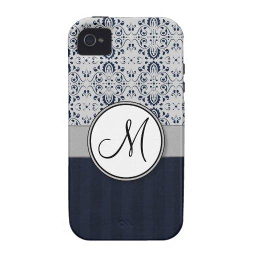 Azul en las rayas y el monograma de plata de la ma vibe iPhone 4 carcasa