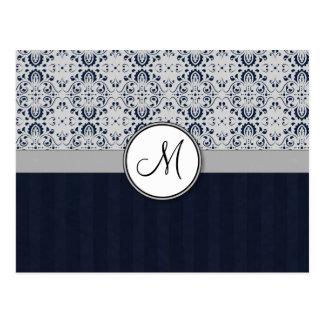 Azul en las rayas y el monograma de plata de la ma tarjeta postal
