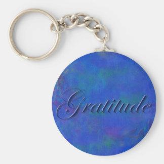 Azul en llavero azul de la gratitud de la escritur