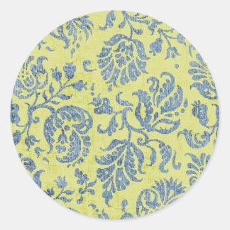 Azul en modelo del papel pintado del damasco de la pegatina redonda