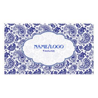 Azul en Paisley retra blanca PatternDesign Plantilla De Tarjeta De Negocio