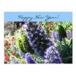 Azul en postal de la Feliz Año Nuevo de la floraci