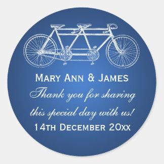 Azul en tándem de la bici del boda de la etiqueta