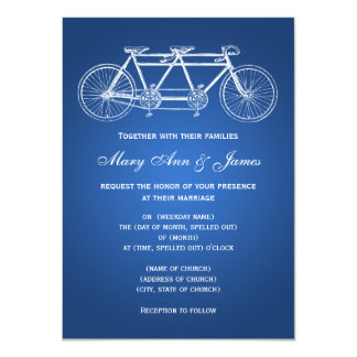 """azul en tándem de la bici del boda simple 4,5 x invitación 4.5"""" x 6.25"""""""