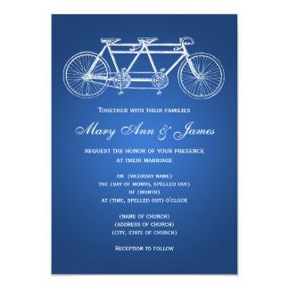 """azul en tándem de la bici del boda simple 5x7 invitación 5"""" x 7"""""""