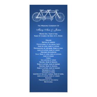 """Azul en tándem de la bici del programa simple del invitación 4"""" x 9.25"""""""