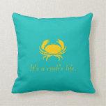 Azul es la vida de un cangrejo personaliza la almo cojin