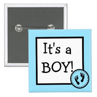 Azul es un muchacho con huellas del bebé pin cuadrado
