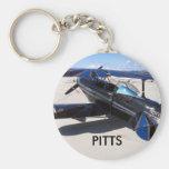 Azul especial de Pitts, PITTS Llavero Redondo Tipo Pin