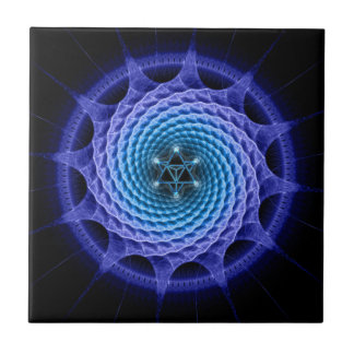 Azul espiral de la mandala de Merkaba (geometría d Teja Ceramica