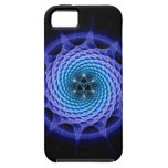 Azul espiral de la mandala de Merkaba (geometría d iPhone 5 Case-Mate Protectores