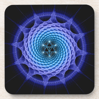 Azul espiral de la mandala de Merkaba (geometría d Posavaso
