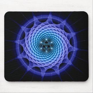 Azul espiral de la mandala de Merkaba (geometría d Tapetes De Ratón