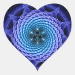 Azul espiral de la mandala de Merkaba (geometría Calcomania De Corazon