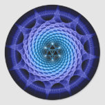 Azul espiral de la mandala de Merkaba (geometría Pegatina Redonda