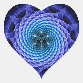 Azul espiral de la mandala de Merkaba (geometría Pegatina En Forma De Corazón