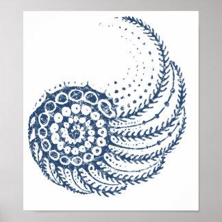 Azul espiral orgánico posters