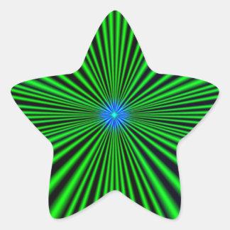 Azul - estrella verde pegatina en forma de estrella