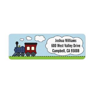 Azul/etiquetas de dirección rojas del tren