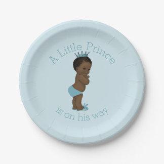 Azul étnico del príncipe fiesta de bienvenida al plato de papel de 7 pulgadas