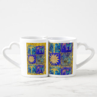 Azul exótico set de tazas de café