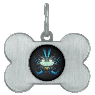 Azul extranjero del dragón de los ojos que brilla  placa mascota