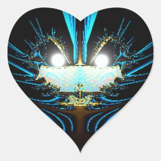 Azul extranjero del dragón de los ojos que brilla  pegatina de corazón personalizadas