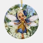 Azul Fae de la margarita del verano Ornamente De Reyes