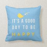 Azul feliz de la almohada