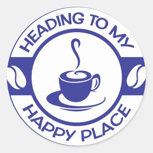 Azul feliz del café del lugar A257 Pegatina Redonda