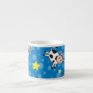 Azul feliz del modelo de la vaca taza espresso