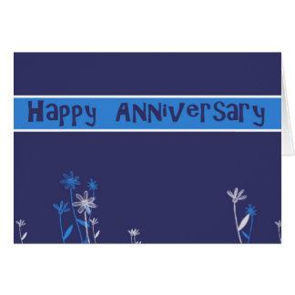 azul feliz del negocio del aniversario tarjeta de felicitación