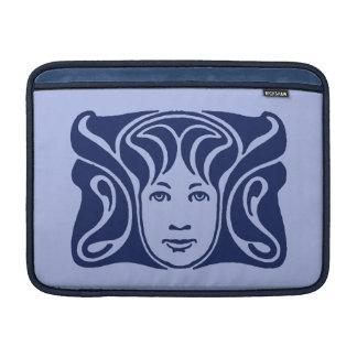 Azul femenino de la cara de la diosa romana de Nou Fundas Macbook Air