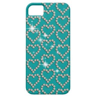Azul femenino de la chispa del diamante del corazó iPhone 5 funda
