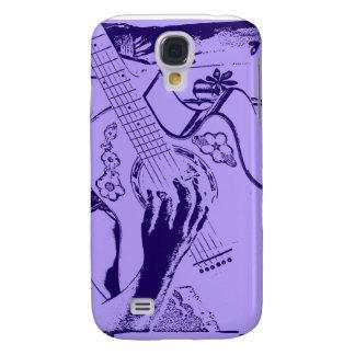 Azul femenino de la mano de la guitarra invertido funda para galaxy s4